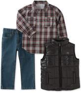 Calvin Klein 3-Pc. Puffer Vest, Plaid Shirt & Jeans Set, Baby Boys (0-24 months)