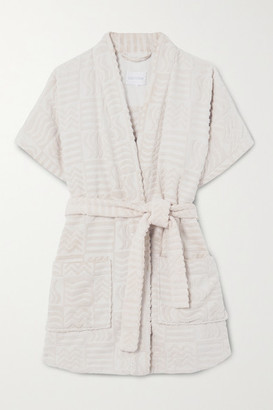 LUCY FOLK Horizon Belted Cotton-terry Robe - Ecru