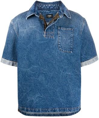 Fendi Patch Pocket Denim Polo Shirt