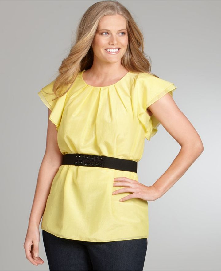 Alfani Plus Size Top, Flutter Sleeve Pleated Belted