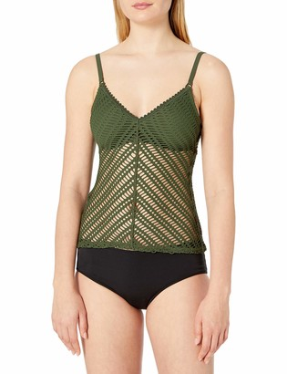 Robin Piccone Women's Sophia Crochet Tankini with Back Fringe Ties