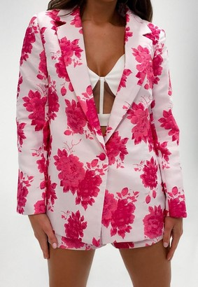 Missguided Pink Co Ord Floral Jacquard Blazer