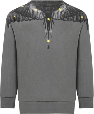 Marcelo Burlon County of Milan Gray Sweatshirt For Boy With Iconic Wings