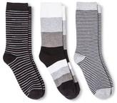 Merona Women's Crew Socks 3-Pack Extra Wide Stripe Black One Size