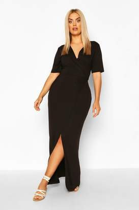 boohoo Plus Wrap Front Jersey Maxi Dress