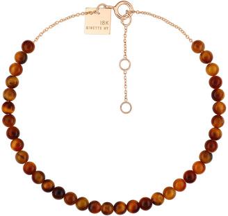 ginette_ny Mini Maria Tiger Eye Beaded Bracelet - Rose Gold