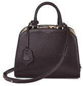Aspinal of London Mini Hepburn Bag In Smooth Dark Brown Tan Snake Print