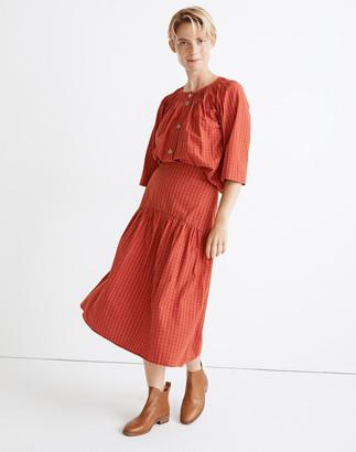 Madewell Drop-Waist Midi Skirt in Windowpane Jacquard