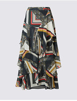 M&S Collection Printed Ruffle A-Line Midi Skirt