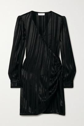 Anine Bing Penelope Satin-jacquard Wrap Mini Dress - Black