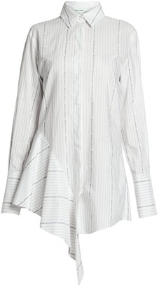 Off-White Off White Asymmetric Cotton Poplin Shirtdress