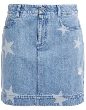 Stella McCartney Distressed Printed Denim Mini Skirt