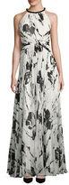 Carmen Marc Valvo Halterneck Floral-Print Gown