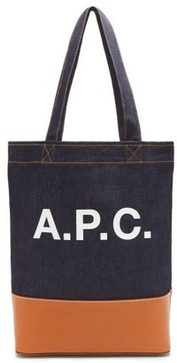 A.P.C. Axelle Denim Leather-trim Tote Bag - Brown