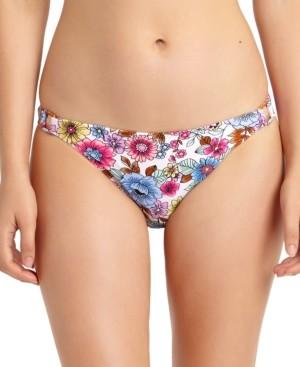 California Waves Juniors' Floral-Print Hardware-Side Bikini Bottoms, Created for Macy's Women's Swimsuit