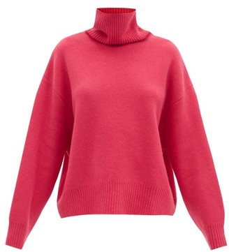 Raey Cropped Displaced-sleeve Roll-neck Wool Sweater - Purple