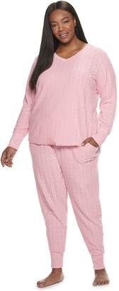 Croft & Barrow Plus Size Cable-Knit Textured Pajama Set