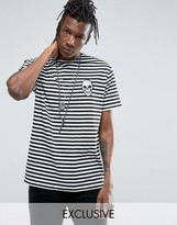 Reclaimed Vintage Revived Striped T-shirt With Skull Patch