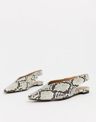 Topshop slingback flat shoes in snake print-Beige
