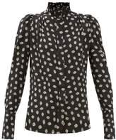 Isabel Marant Lamia High-neck Floral-print Silk Blouse - Womens - Black Print