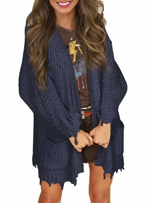 AlvaQ Womens Fashion Casual Long Sleeve Solid Knitted Sweater Asymmetric Hem Pocketed Sweater Slouchy Open Front Cardigans Blue