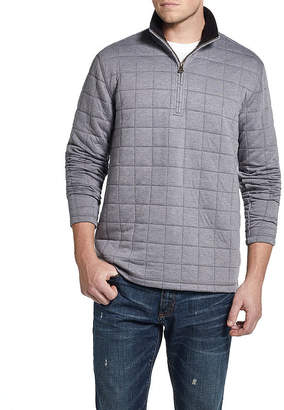 AMERICAN THREADS American Threads Quilted Sherpa Collar Mens Long Sleeve Quarter-Zip Pullover