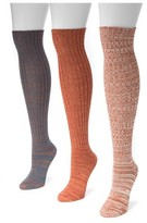 Muk Luks Women's 3 Pair Pack Marl Knee High Socks - Multicolor One Size