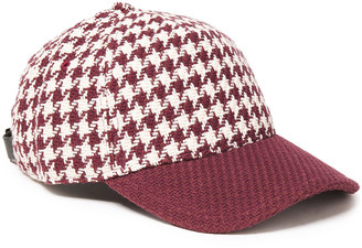 Rag & Bone Leather-trimmed Houndstooth Cotton-tweed Cap