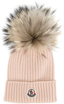 Moncler classic knitted beanie hat - kids - Racoon Fur/Virgin Wool - One Size