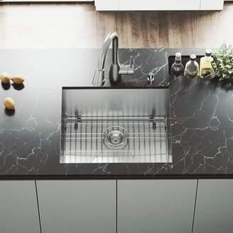 Ludlow VIGO 23 inch Undermount Single Bowl 16 Gauge Stainless Steel Kitchen Sink with Graham Stainless Steel Faucet, Grid, Strainer and Soap Dispenser VIGO