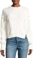 Helmut Lang Ribbed Cotton Pullover Sweater, White