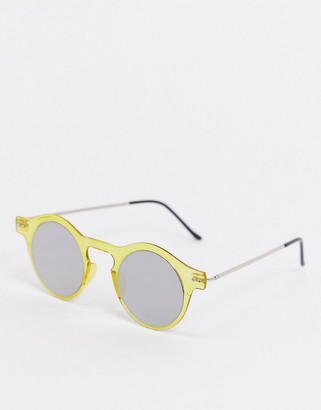 Spitfire Nexus round sunglasses in yellow with flexible frame