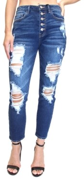 Thumbnail for your product : Almost Famous Juniors' Button-Fly Destructed High-Rise Mom Jeans