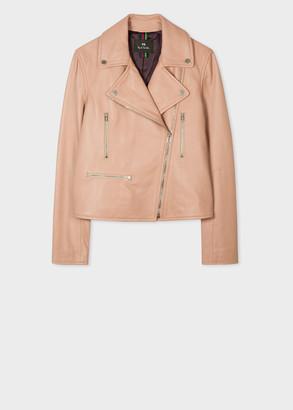 Paul Smith Women's Beige Leather Biker Jacket