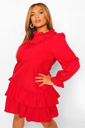 boohoo Plus High Neck Ruffle Smock Dress