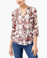 INC International Concepts Petite Printed Pintucked Shirt, Created for Macy's