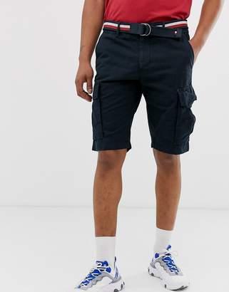 Tommy Hilfiger cargo shorts with reversible stripe webbing belt in navy