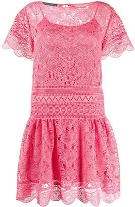 Alberta Ferretti Lace Embroidered Shift Dress