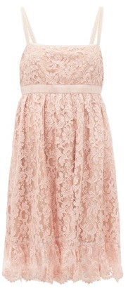 Gucci Logo-waist Floral-lace Babydoll Dress - Pink