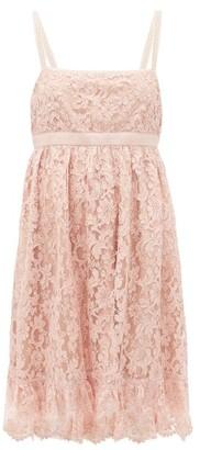Gucci Logo-waist Floral-lace Babydoll Dress - Womens - Pink