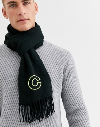 ASOS DESIGN personalised scarf in black with embroidered 'C' inital
