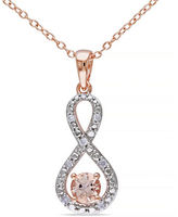 Concerto 0.5TCW Morganite and Diamond Two-Tone Infinity Necklace