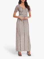 Adrianna Papell Elbow Sleeve Long Beaded Dress