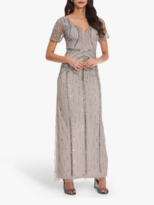 Adrianna Papell Elbow Sleeve Long Beaded Dress