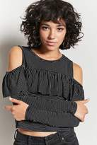 Forever 21 Pinstripe Flounce Top