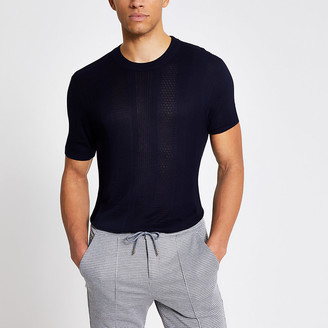 River Island Maison Riviera navy slim fit knitted T-shirt