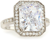 FANTASIA Emerald-Cut & Pave Cubic Zirconia Ring, Blue/Clear