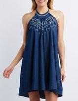 Charlotte Russe Embroidered Bib Neck Shift Dress