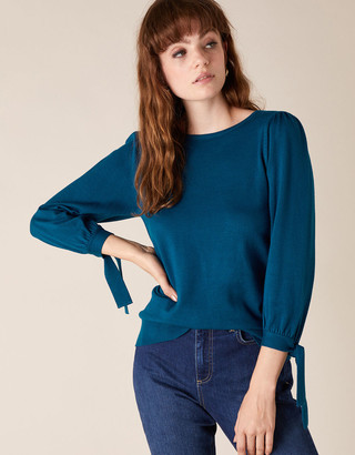 Under Armour Tie Cuff Knit Jumper with LENZING ECOVERO Teal