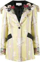 Gucci floral applique jacquard jacket - women - Silk/Cotton/Cupro - 40